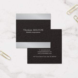 Cartão De Visitas Quadrado Consultante de prata do falso preto elegante