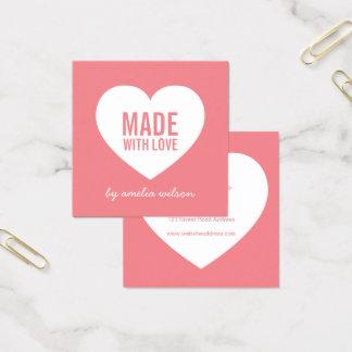 Cartão De Visitas Quadrado Cor editável do fundo feita com coração do amor