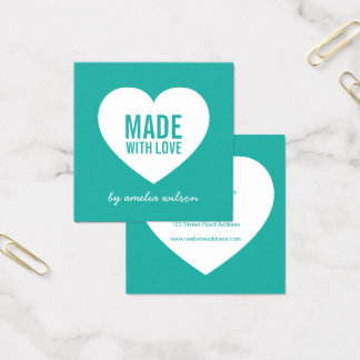 Cartão De Visitas Quadrado Cor editável moderna do fundo feita com amor