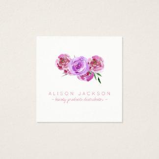 Cartão De Visitas Quadrado Cora o distribuidor floral do produto de beleza da