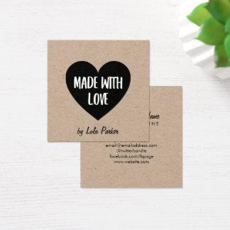 Cartão De Visitas Quadrado Coração & papel de embalagem Feito com amor