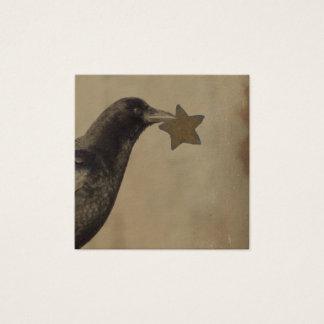 Cartão De Visitas Quadrado Corvo e uma estrela oxidada