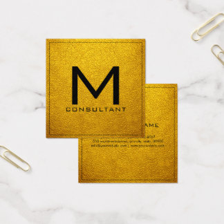 Cartão De Visitas Quadrado Couro ambarino moderno elegante do monograma