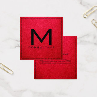 Cartão De Visitas Quadrado Couro cor-de-rosa do americano moderno elegante do