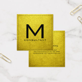 Cartão De Visitas Quadrado Couro moderno elegante do amarelo da banana do