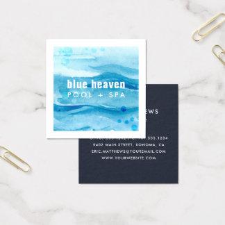 Cartão De Visitas Quadrado Cuidado ou natação azul da piscina da ondinha  