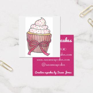 Cartão De Visitas Quadrado Cupcakes cor-de-rosa do cupcake cozidos pela