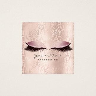 Cartão De Visitas Quadrado Damasco do rosa do brilho dos chicotes dos olhos