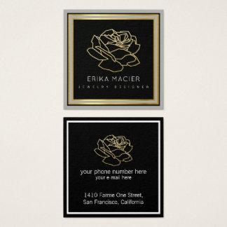 Cartão De Visitas Quadrado desenhista da jóia bonito & preto do chique