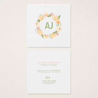 Cartão De Visitas Quadrado Desenhista floral do vestido de casamento da