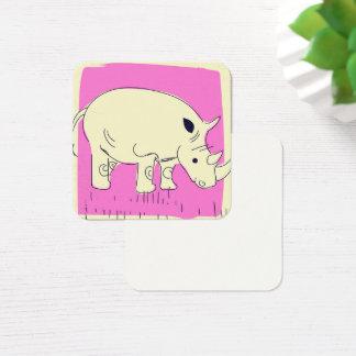 Cartão De Visitas Quadrado Desenhos animados do rinoceronte do estilo do