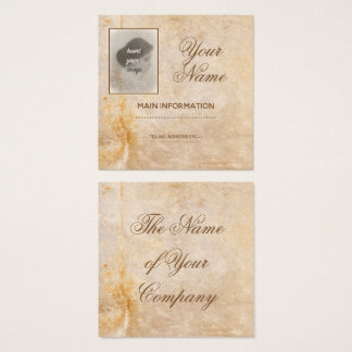 Cartão De Visitas Quadrado Design do vintage com sua foto. Adicione seu texto