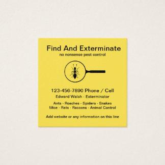 Cartão De Visitas Quadrado Design simples do Exterminator do controlo de