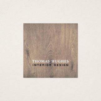 Cartão De Visitas Quadrado Designer de interiores de madeira elegante mínimo