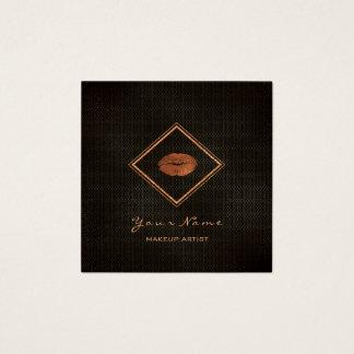 Cartão De Visitas Quadrado Do cobre preto dos lábios do maquilhador malha