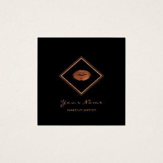 Cartão De Visitas Quadrado Do cobre preto dos lábios do maquilhador ouro