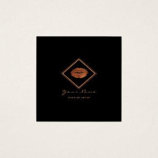 Cartão De Visitas Quadrado Do cobre preto dos lábios do maquilhador quadro