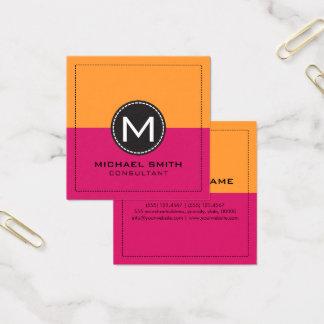 Cartão De Visitas Quadrado Dogwood moderno elegante do monograma cor-de-rosa