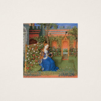Cartão De Visitas Quadrado Donzela medieval no jardim de rosas do castelo