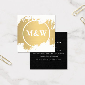 Cartão De Visitas Quadrado Elegante profissional do monograma