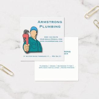 Cartão De Visitas Quadrado Encanamento da chave de tubulação do canalizador