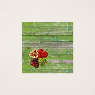 Cartão De Visitas Quadrado Encanto afortunado dos vegetais e das frutas