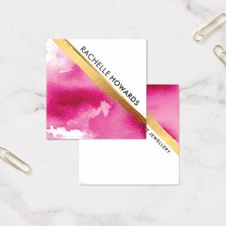 Cartão De Visitas Quadrado Escova MÍNIMA MODERNA do ouro da aguarela do rosa