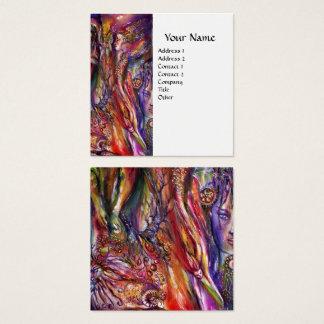 Cartão De Visitas Quadrado Fantasia branca roxa cor-de-rosa de VIVIEN E de
