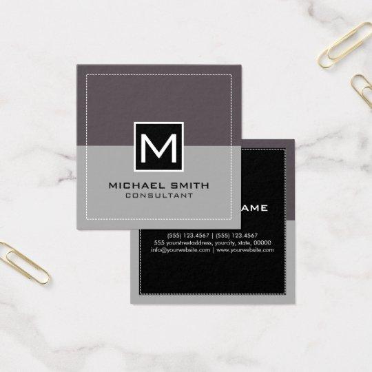 Cartão De Visitas Quadrado Fígado cinzento moderno elegante do monograma