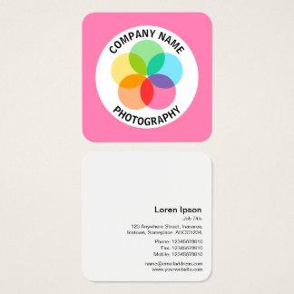 Cartão De Visitas Quadrado Flor do filtro - #FF7FB2 cor-de-rosa