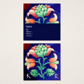 Cartão De Visitas Quadrado Flor estilizado do MONOGRAMA FLORAL VERDE