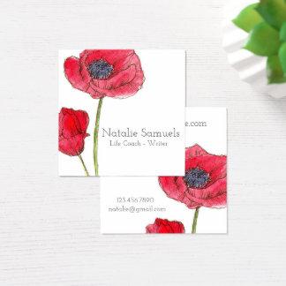 Cartão De Visitas Quadrado Flor vermelha da aguarela da papoila