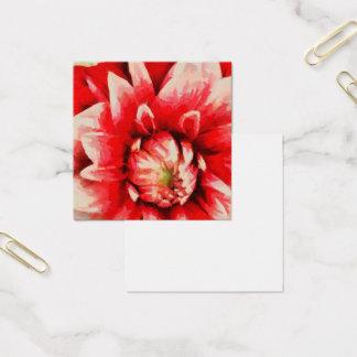Cartão De Visitas Quadrado Flor vermelha grande