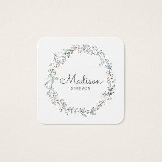 Cartão De Visitas Quadrado Floral branco