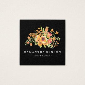 Cartão De Visitas Quadrado Floral elegante preto moderno da aguarela