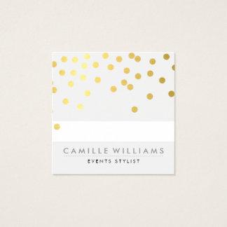 Cartão De Visitas Quadrado Folha de ouro bonito moderna do teste padrão de