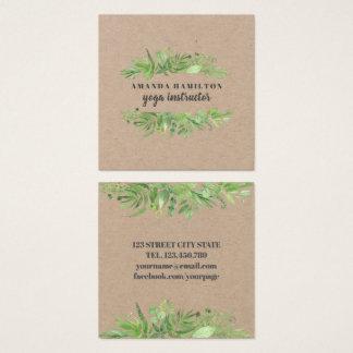Cartão De Visitas Quadrado Folha selvagem do verde do prado da aguarela