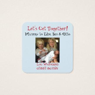 Cartão De Visitas Quadrado Foto da reunião da data do jogo da mãe das