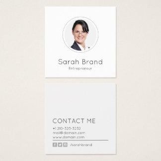 Cartão De Visitas Quadrado Foto pessoal minimalista