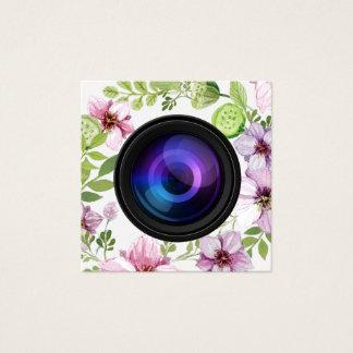 Cartão De Visitas Quadrado Fotografia elegante da câmera floral do fotógrafo