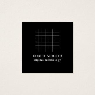 Cartão De Visitas Quadrado Grade aberta do espaço do gráfico do preto simples