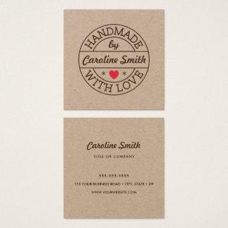Cartão De Visitas Quadrado Handmade com selo do amor com papel de embalagem