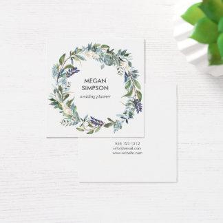 Cartão De Visitas Quadrado Hortaliças e grinalda floral da aguarela azul