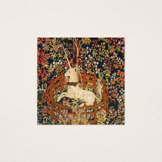 Cartão De Visitas Quadrado Imagem medieval da tapeçaria do unicórnio