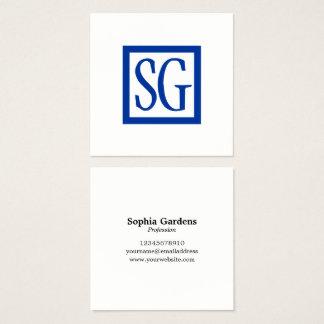 Cartão De Visitas Quadrado Iniciais da caixa - quadrado - azuis marinhos
