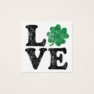 Cartão De Visitas Quadrado Irlandês do trevo do AMOR do Dia de São Patrício