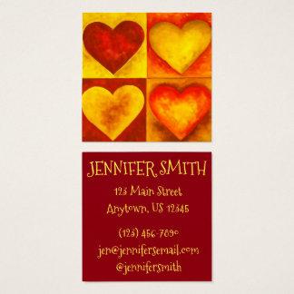 Cartão De Visitas Quadrado Laranja vermelha amor pintado da arte do coração