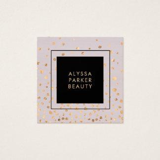 Cartão De Visitas Quadrado Lilac com os pontos do olhar do ouro do falso
