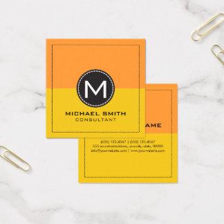 Cartão De Visitas Quadrado Limão e açafrão modernos elegantes do monograma