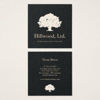 Cartão De Visitas Quadrado Logotipo clássico branco preto elegante simples da